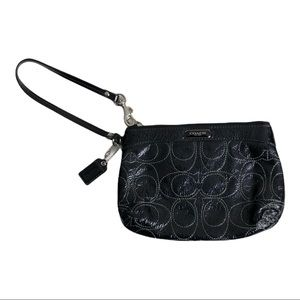 Coach Black and White Monogrammed Wristlet